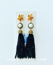 Load image into Gallery viewer, Dressy Floral and Pearl Beaded Tassel Statement Earrings - Gold/Black Or Gold/Silver - Ginger jar