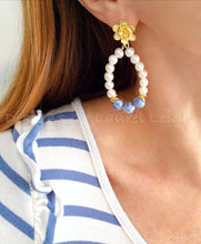 Load image into Gallery viewer, Oval Chinoiserie Floral Freshwater Pearl Earrings - Ginger jar