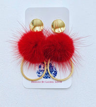 Load image into Gallery viewer, Red and Gold Fur Pompom Earrings - Posts - Ginger jar