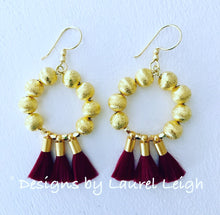 Load image into Gallery viewer, Gold Beaded Hoop Tassel Earrings - Red, Orange, Wine - Ginger jar