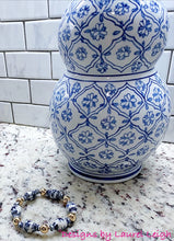 Load image into Gallery viewer, Chinoiserie Ginger Jar and Gold Filled Bead Bracelet