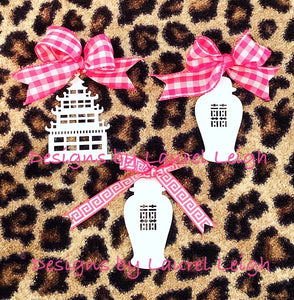 Chinoiserie Chic Pagoda Christmas Ornament - 4 Solid Colors - Pick Ribbon