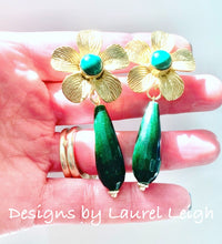 Load image into Gallery viewer, Green Floral Teardrop Earrings - Malachite & Jade Gemstones - Ginger jar