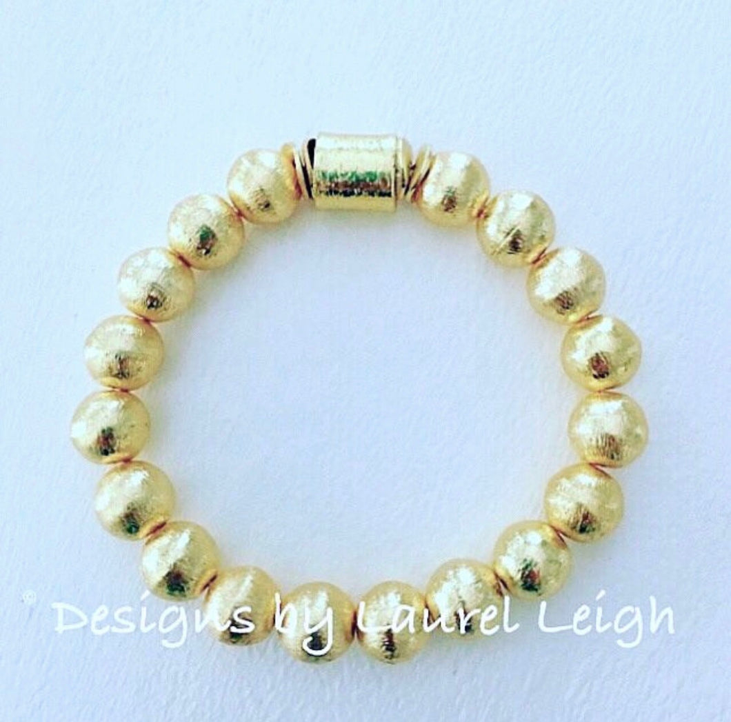 Gold Beaded Statement Bracelet - Ginger jar