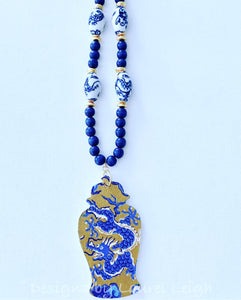 Blue and White Chinoiserie Dragon Ginger Jar Pendant Statement Necklace - Red or Blue - Ginger jar