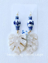 Load image into Gallery viewer, Chinoiserie Tortoise Shell Tropical Palm Leaf Statement Earrings - White Pearl - Designs by Laurel Leigh