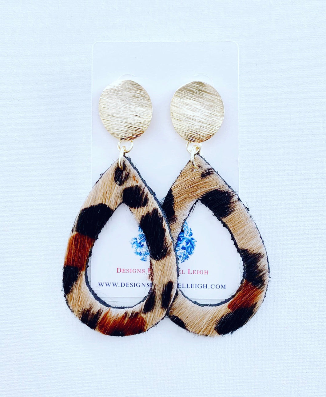 Gold and Leather Leopard Print Cutout Teardrop Earrings - Posts - Ginger jar