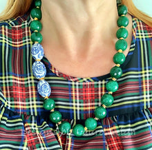 Load image into Gallery viewer, Chinoiserie Statement Necklace - Chunky Green Jade - Ginger jar