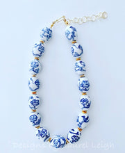 Load image into Gallery viewer, Blue and White Chinoiserie Chunky Statement Necklace - Adjustable - Ginger jar