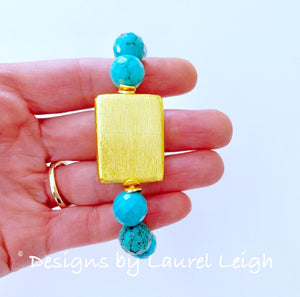 Turquoise and Gold Beaded Bracelet - Ginger jar