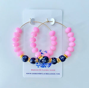Bubblegum Pink Chinoiserie Beaded Hoop Earrings
