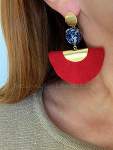 Chinoiserie Floral Fan Tassel Earrings - Red - Designs by Laurel Leigh