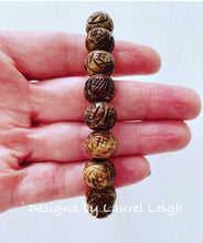 Load image into Gallery viewer, Brown Carved Horn Beaded Bracelet - Ginger jar