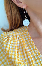 Load image into Gallery viewer, Mother of Pearl Sunflower Earrings - White & Gold - Ginger jar