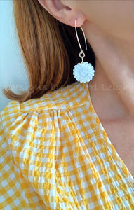 Mother of Pearl Sunflower Earrings - White & Gold - Ginger jar