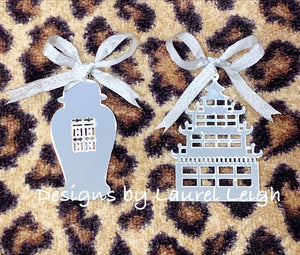 Chinoiserie Chic Pagoda Christmas Ornament - Mirrored Gold & Silver