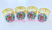 Load image into Gallery viewer, Rose Medallion Watercolor Plate Gold Greek Key Napkin Rings - Set of 4