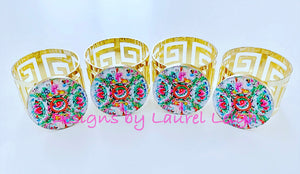 Rose Medallion Watercolor Plate Gold Greek Key Napkin Rings - Set of 4