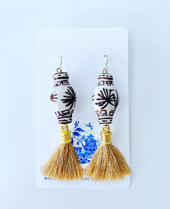 Chinoiserie Ginger Jar Tassel Earrings - Brown & Tan
