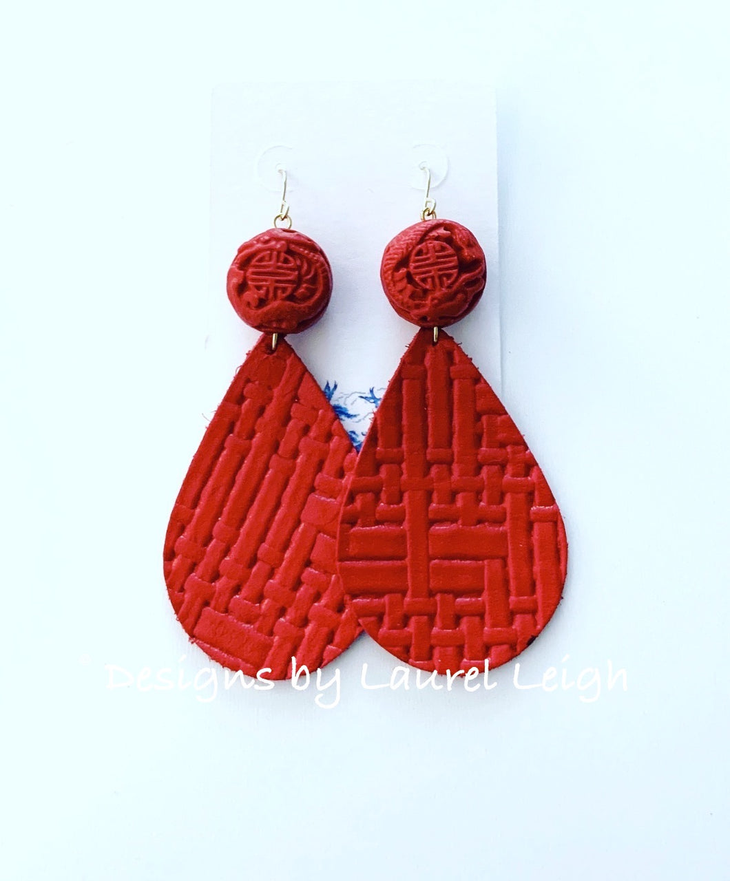 Chinoiserie Red Leather Drop Earrings - Ginger jar