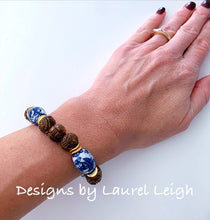Load image into Gallery viewer, Chinoiserie Brown Carved Beaded Statement Bracelet
