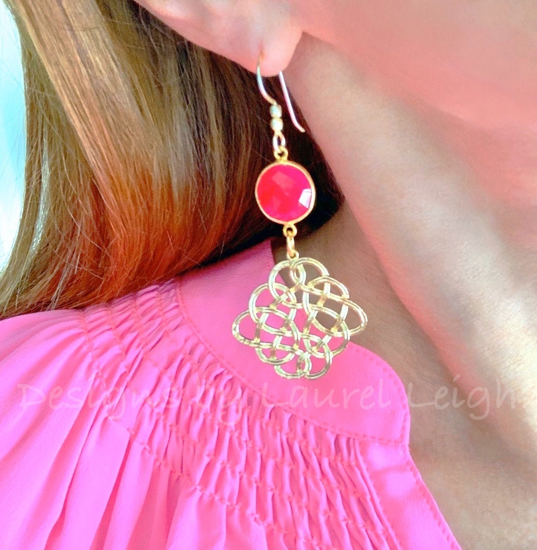 Hot Pink Gemstone Gold Knot Earrings - Ginger jar