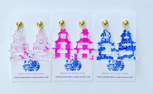 Chinoiserie Pagoda Earrings (Small) - Blue Willow, Pink Willow & Gingham