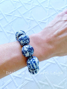 Blue and White Chinoiserie Floral/Chinese Symbol Beaded Statement Bracelet - Ginger jar