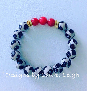 Black, White and Red Tibetan Agate Gemstone Statement Bracelet - Ginger jar
