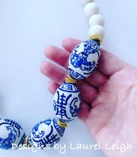 Load image into Gallery viewer, Blue and White Chinoiserie Chunky Statement Necklace - Ginger jar
