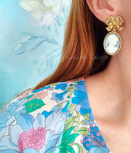 Load image into Gallery viewer, Wedgwood Blue and White Cameo Earrings - 6 Styles