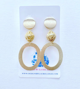 Gold Statement Earrings - Ginger jar