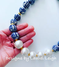 Load image into Gallery viewer, Blue and White Chinoiserie Jumbo Pearl Floral Statement Necklace - Ginger jar