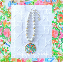 Load image into Gallery viewer, Rose Medallion Chinoiserie Pendant Necklace - Chunky Pearls - Ginger jar