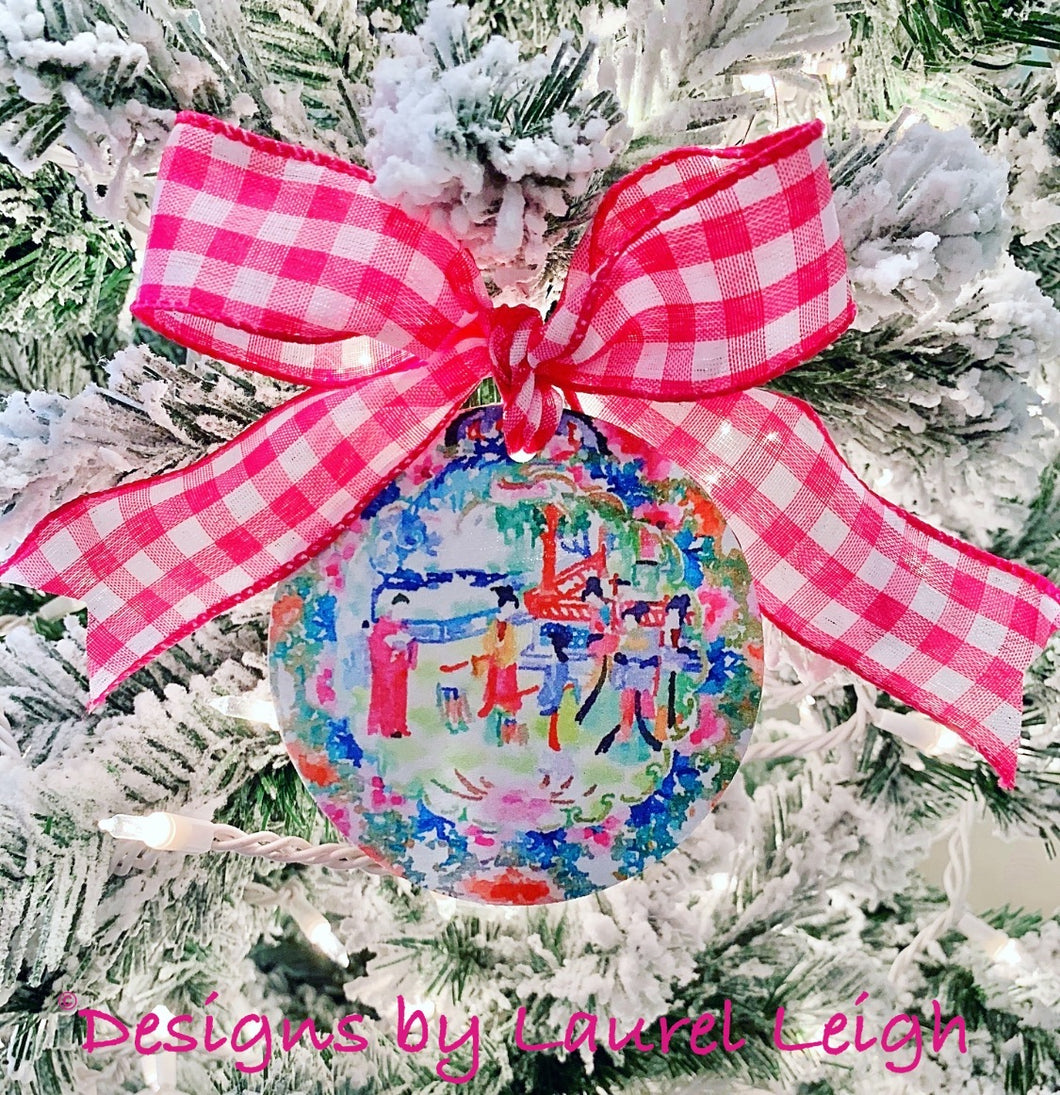 Chinoiserie Christmas Ornament- Colorful Watercolor Art