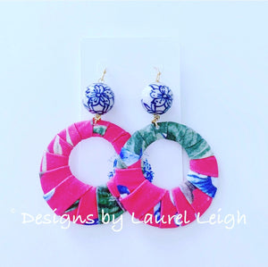 Chinoiserie Tropical Floral Fabric Hoops - 3 Colors - Ginger jar