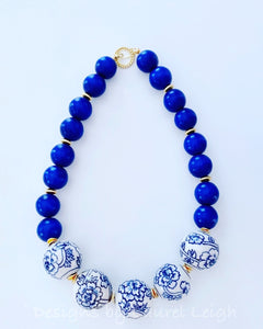 Chunky Short Chinoiserie Peony Flower Beaded Statement Necklace - Royal Cobalt Blue - Ginger jar