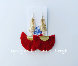 Red Abstract Fan Tassel Earrings - Ginger jar