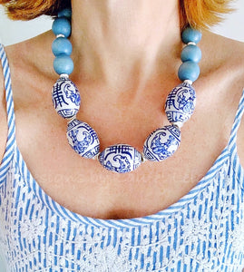 Chunky Short Chinoiserie Beaded Statement Necklace - Spa Blue - Ginger jar