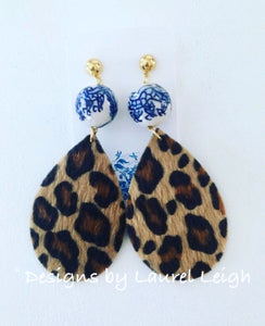 Chinoiserie FAUX Leather Leopard Print Statement Earrings - Ginger jar
