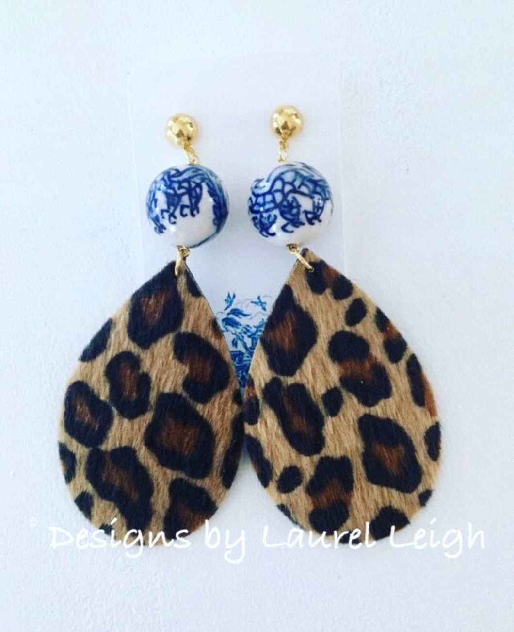Chinoiserie FAUX Leather Leopard Print Statement Earrings - Designs by Laurel Leigh