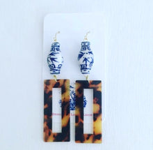 Load image into Gallery viewer, Chinoiserie Tortoise Shell Ginger Jar Earrings - Rectangle - Ginger jar