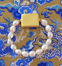 Load image into Gallery viewer, Baroque Pearl and Gold Bead Statement Bracelet - Ginger jar