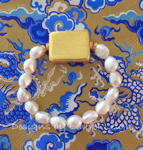 Baroque Pearl and Gold Bead Statement Bracelet - Ginger jar