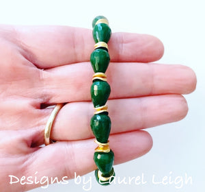 Gold & Green Jade Teardrop Statement Bracelet - Ginger jar