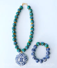 Load image into Gallery viewer, Green, Blue & White African Glass Chinoiserie Pendant Necklace - Ginger jar