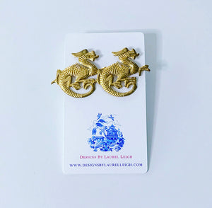 Gold Chinoiserie Dragon Earrings