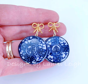 Blue & White Chinoiserie Coin Earrings with Gold Bows - Ginger jar