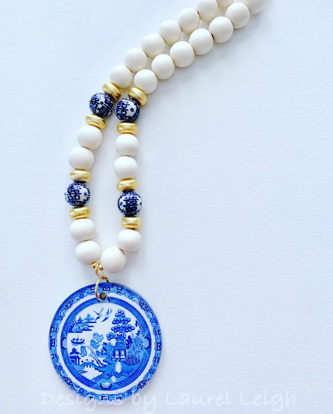 Blue Willow Chinoiserie Double Happiness Pendant Statement Necklace - White - Ginger jar