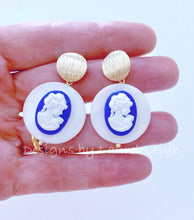 Load image into Gallery viewer, Blue & White Mother of Pearl Cameo Earrings - Royal Blue - Ginger jar